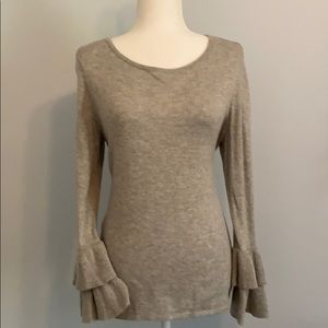 So soft! Great sweater with ruffle cuff detail!